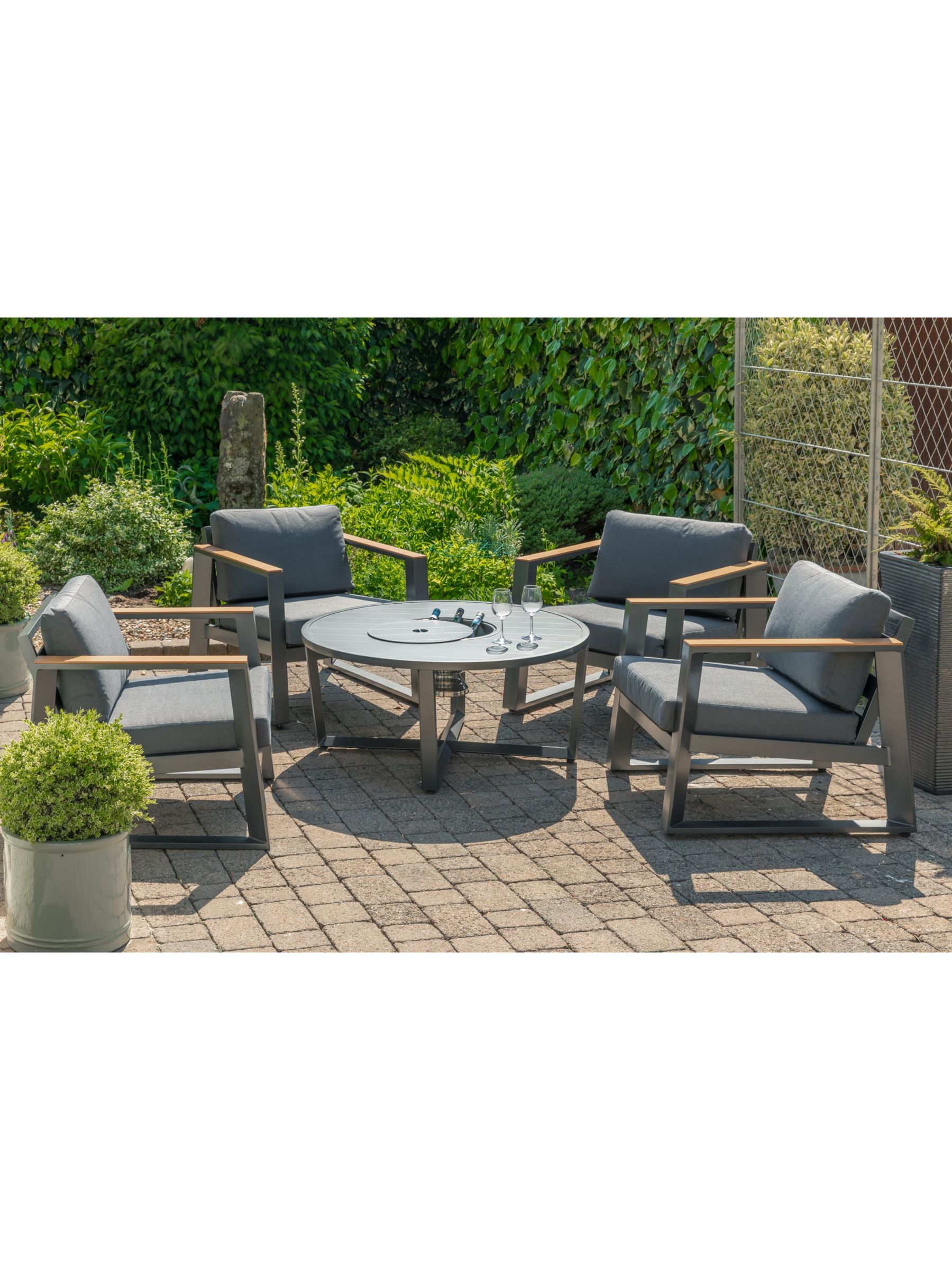 Lg Outdoor Roma 4 Seat Garden Table Chairs Lounging Set With Ice Bucket Anthracite Grey At John Lewis Partners