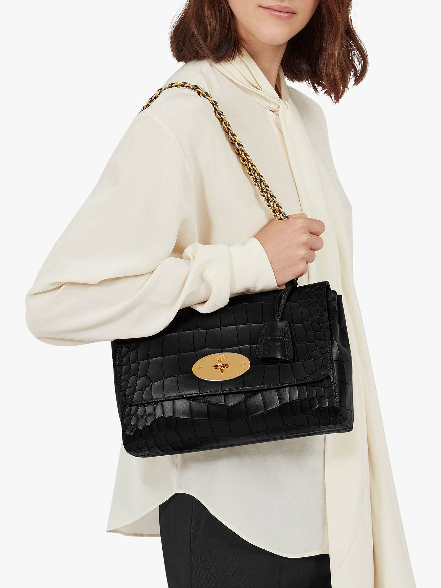 58801190a ... Buy Mulberry Medium Lily Croc Embossed Leather Shoulder Bag