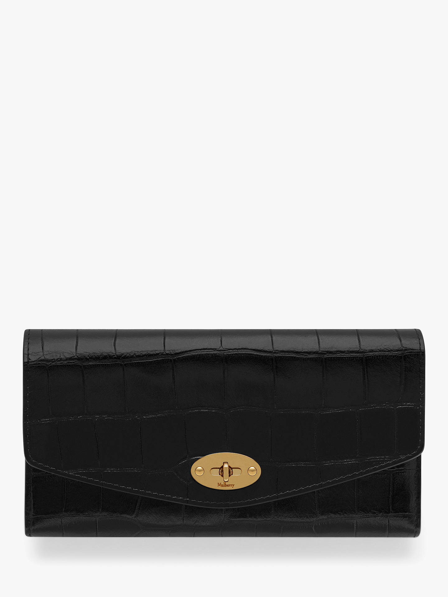 24f432658b Buy Mulberry Darley Croc Embossed Leather Wallet, Black Online at  johnlewis.com ...