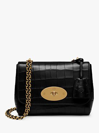 Mulberry Lily Croc Embossed Leather Cross Body Bag, Black/Gold
