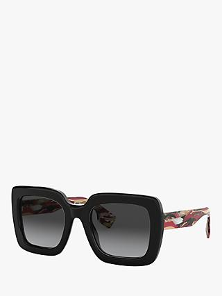Burberry BE4284 Women's Polarised Chunky Square Sunglasses, Black Multi/Grey Gradient