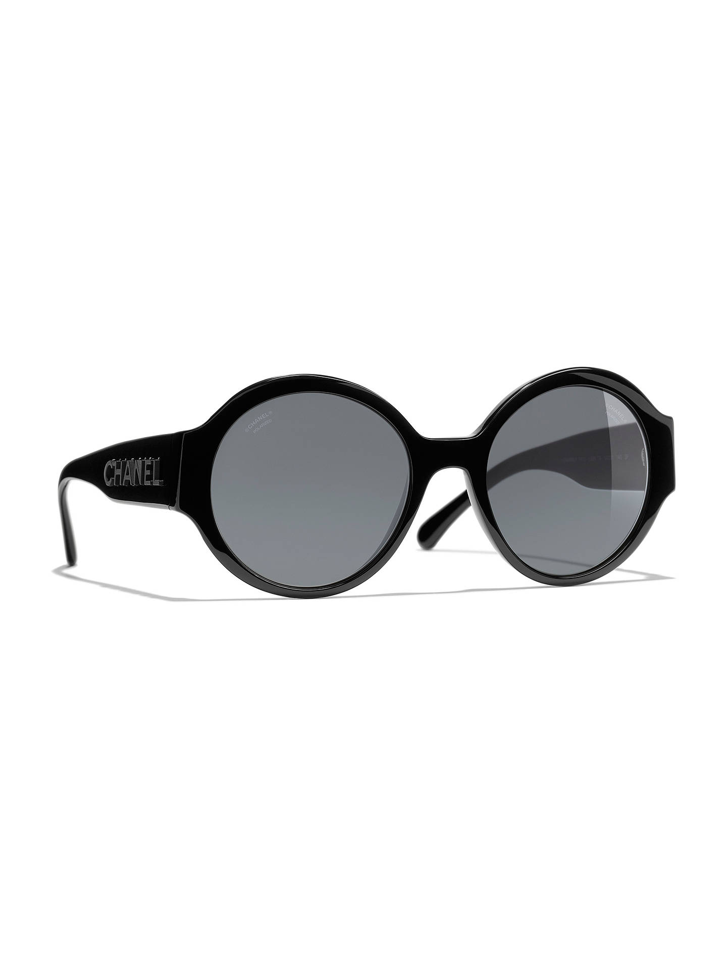 33885a53e5ca Buy CHANEL Oval Sunglasses CH5410 Black Grey Online at johnlewis.com ...