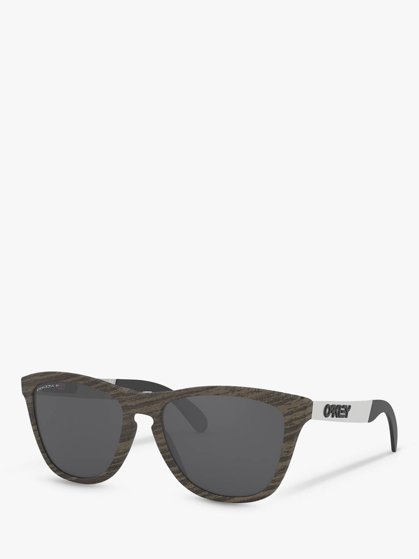 ce0542af5f7d Buy Oakley OO9428 Men's Frogskins Prizm Polarised Square Sunglasses,  Woodgrain Mix/Black Online at ...