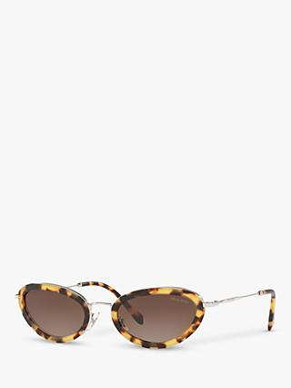 Miu Miu MU 58US Women's Oval Sunglasses, Light Havana/Brown Gradient