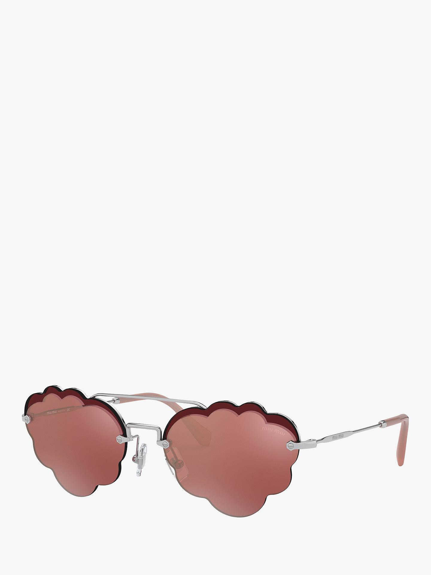 2120459a5 Buy Miu Miu 57US Women's Cloud Aviator Sunglasses, Pink/Silver Online at  johnlewis.
