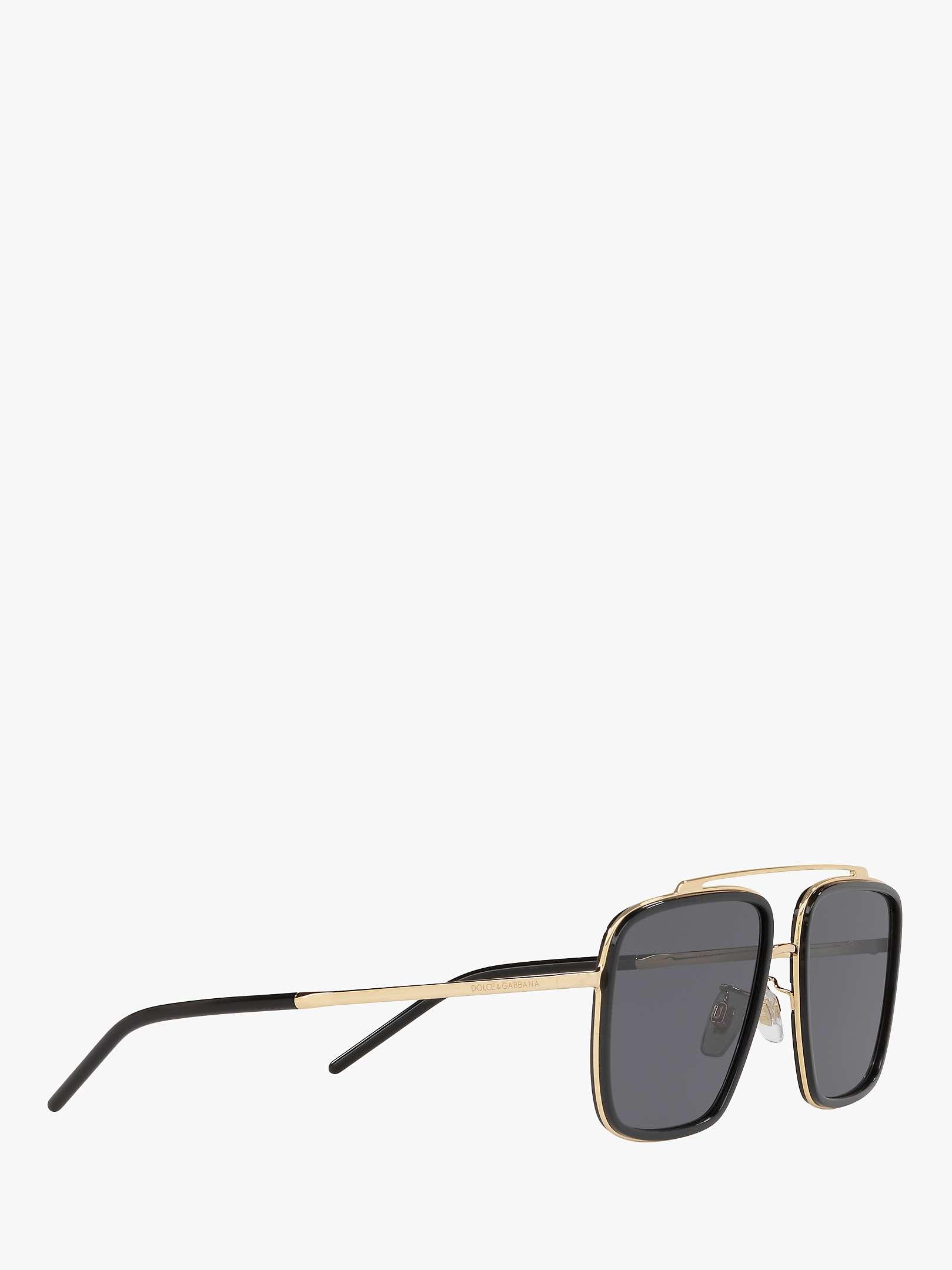 Dolce & Gabbana DG2220 Men's Polarised Square Sunglasses, GoldBlack