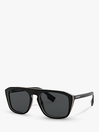 Burberry BE4286 Men's Polarised Square Sunglasses, Check Black/Grey