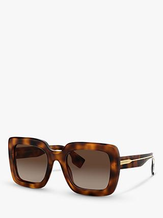 Burberry BE4284 Women's Chunky Square Sunglasses, Havana/Brown Gradient