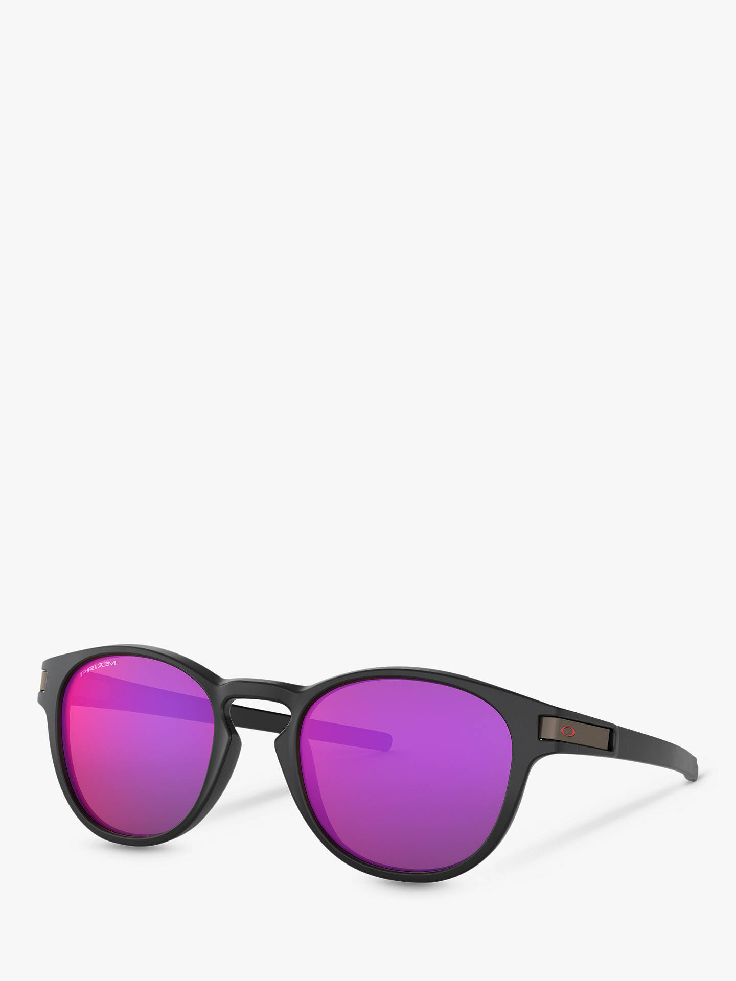 Oakley OO9265 Men's Latch Prizm Round Sunglasses, Matte Black/Purple