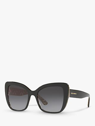 Dolce & Gabbana DG4348 Women's Cat's Eye Sunglasses, Damascus Glitter/Black