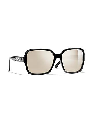 1b5b7f14f289 CHANEL Rectangular Sunglasses CH5408 Black Mirror Gold