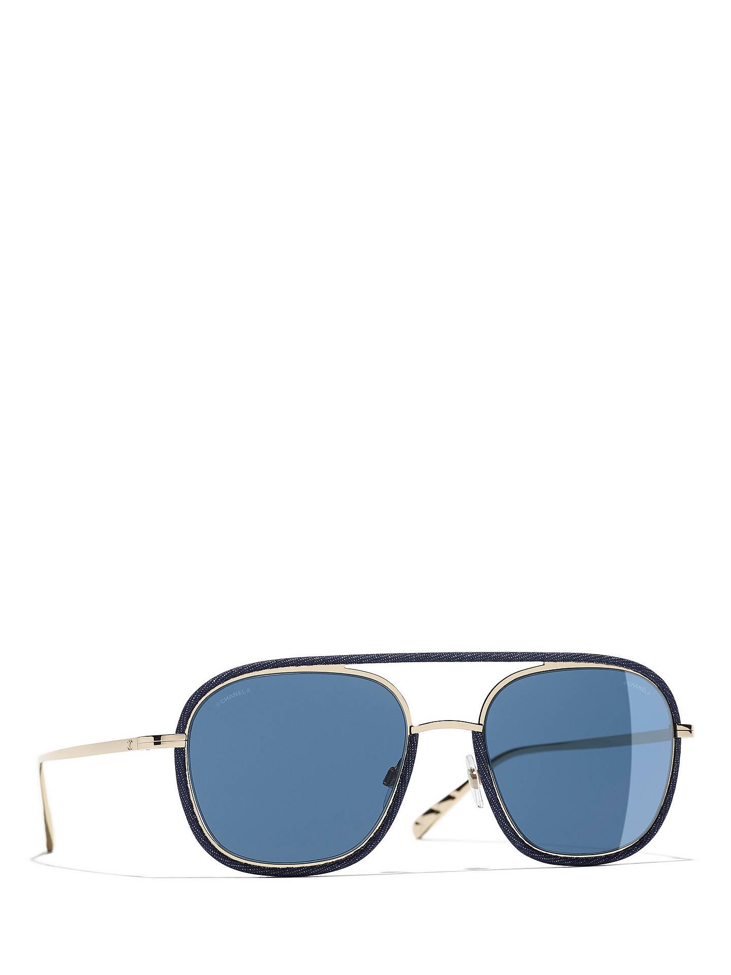 d4564342eada Buy CHANEL Oval Sunglasses CH4249J Gold Blue Online at johnlewis.com ...