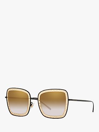 Dolce & Gabbana DG2225 Women's Square Sunglasses, Black/Brown Gradient