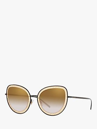 Dolce & Gabbana DG2226 Women's Cat's Eye Sunglasses, Black/Brown Gradient