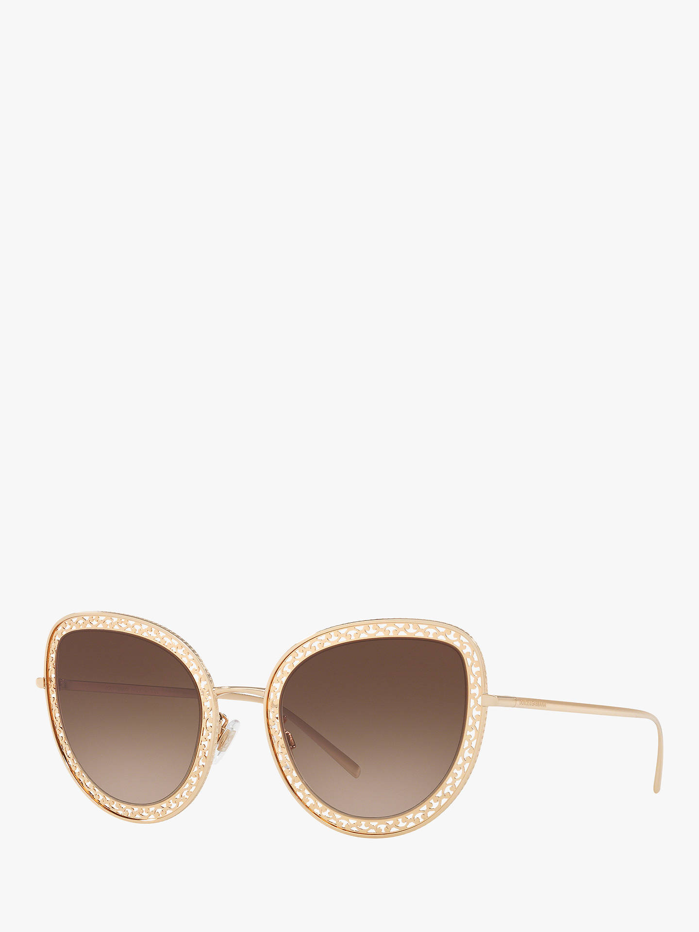 5656139ebe7b Buy Dolce & Gabbana DG2226 Women's Cat's Eye Sunglasses, Gold/Brown  Gradient Online at ...