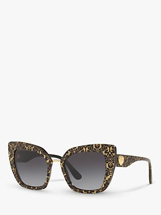 9b196629c450 Dolce & Gabbana DG4359 Women's Cat's Eye Sunglasses, Damasco Glitter/Black  Gradient