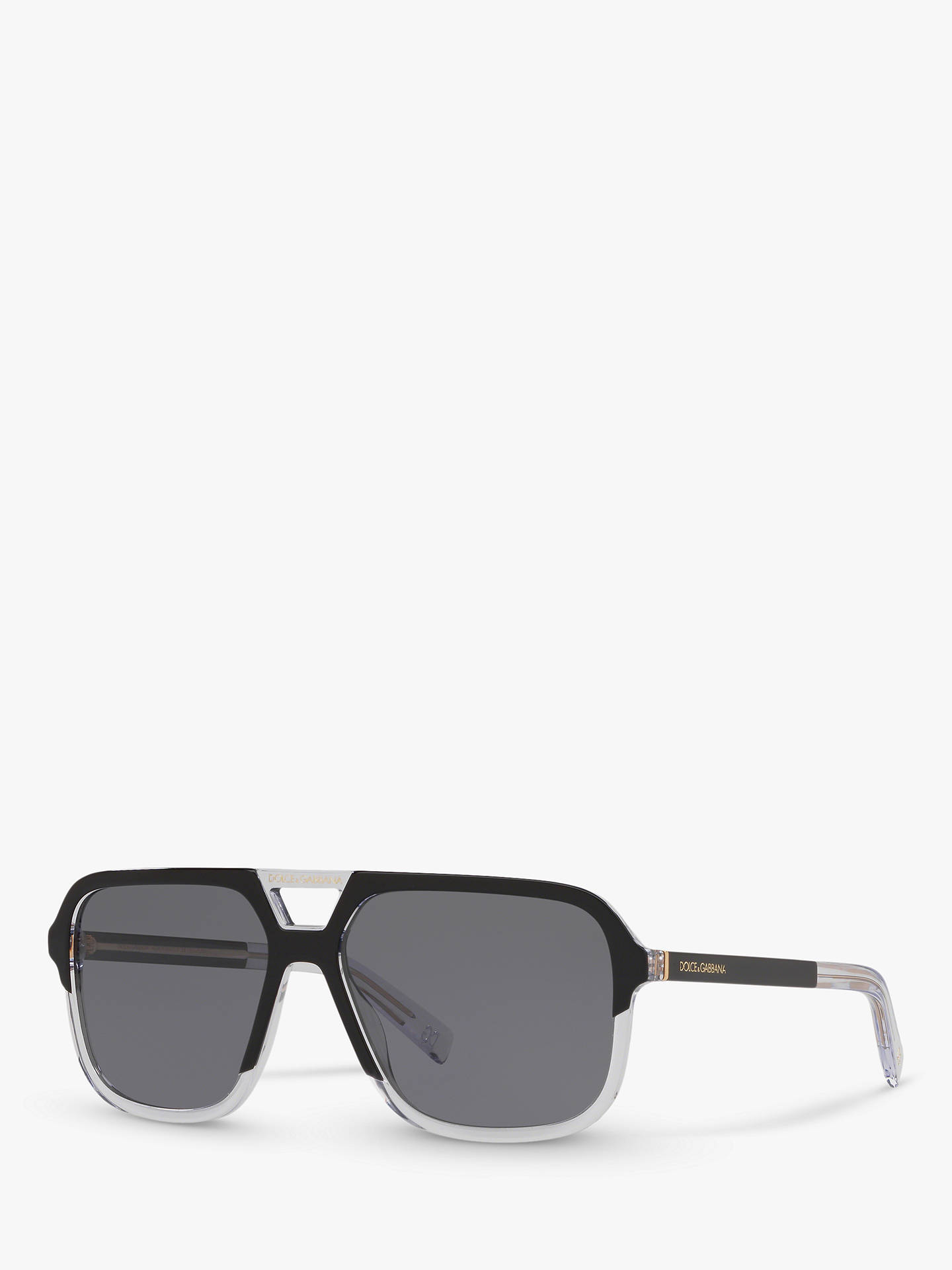 4888d406503d Buy Dolce & Gabbana DG4354 Men's Polarised Square Sunglasses, Black  Clear/Grey Online at ...