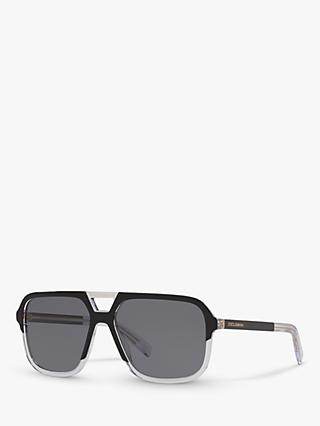 d58abbc3f288 Dolce & Gabbana DG4354 Men's Polarised Square Sunglasses, Black Clear/Grey