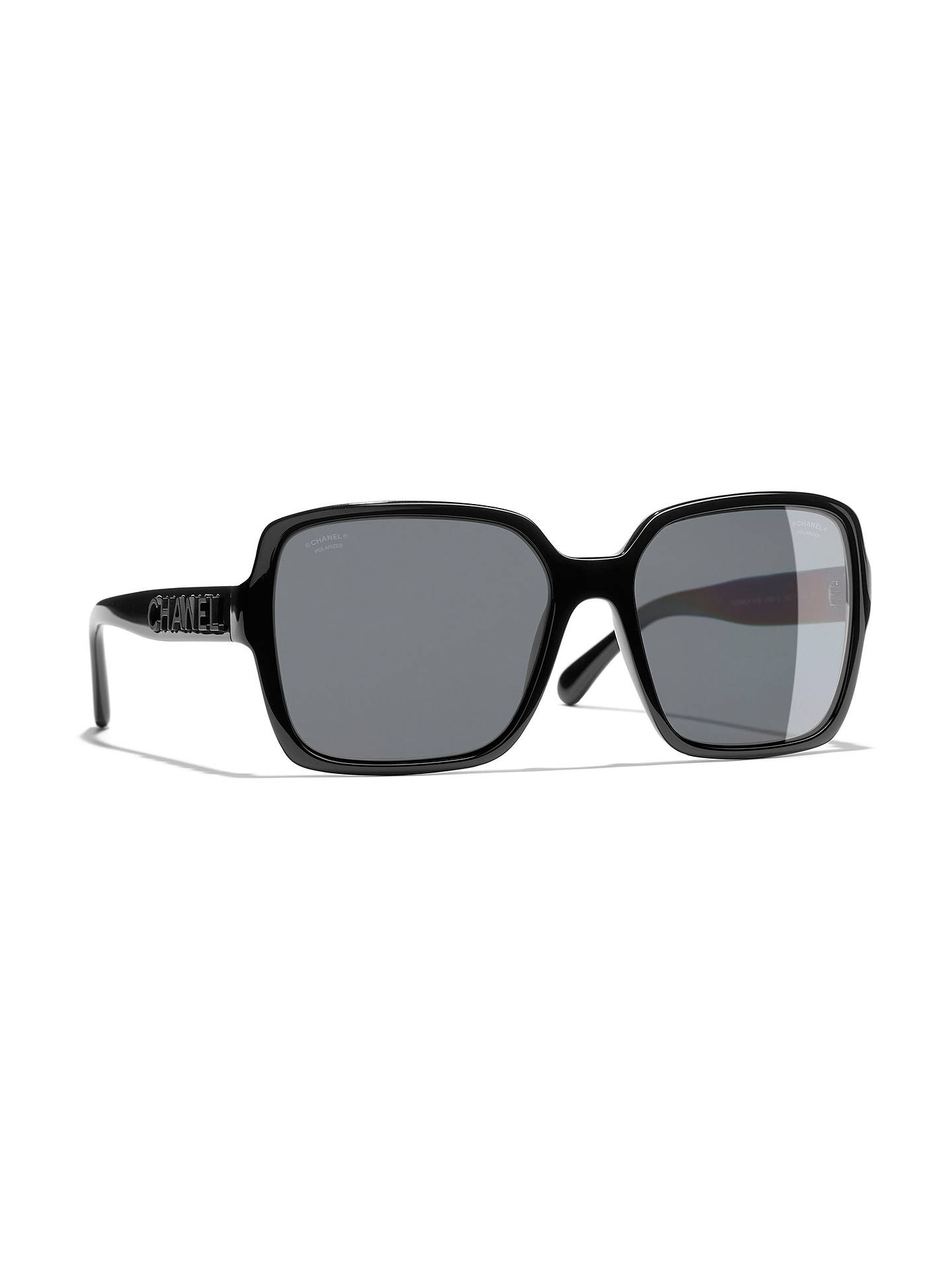 237d0468f55d6 Buy CHANEL Rectangular Sunglasses CH5408 Black Grey Online at johnlewis.com  ...