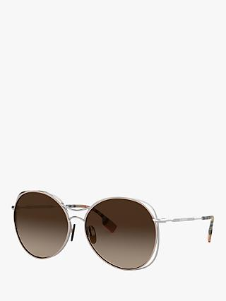 Burberry BE3105 Women's Round Sunglasses, Silver/Beige Gradient