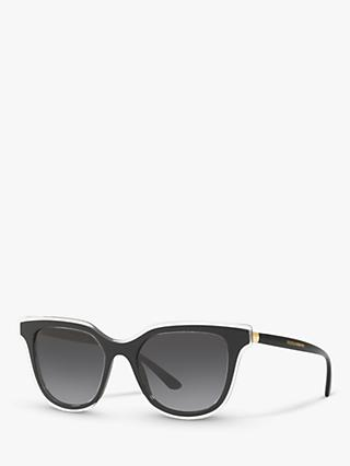 Dolce & Gabbana DG4362 Women's Oval Sunglasses, Black/Grey Gradient