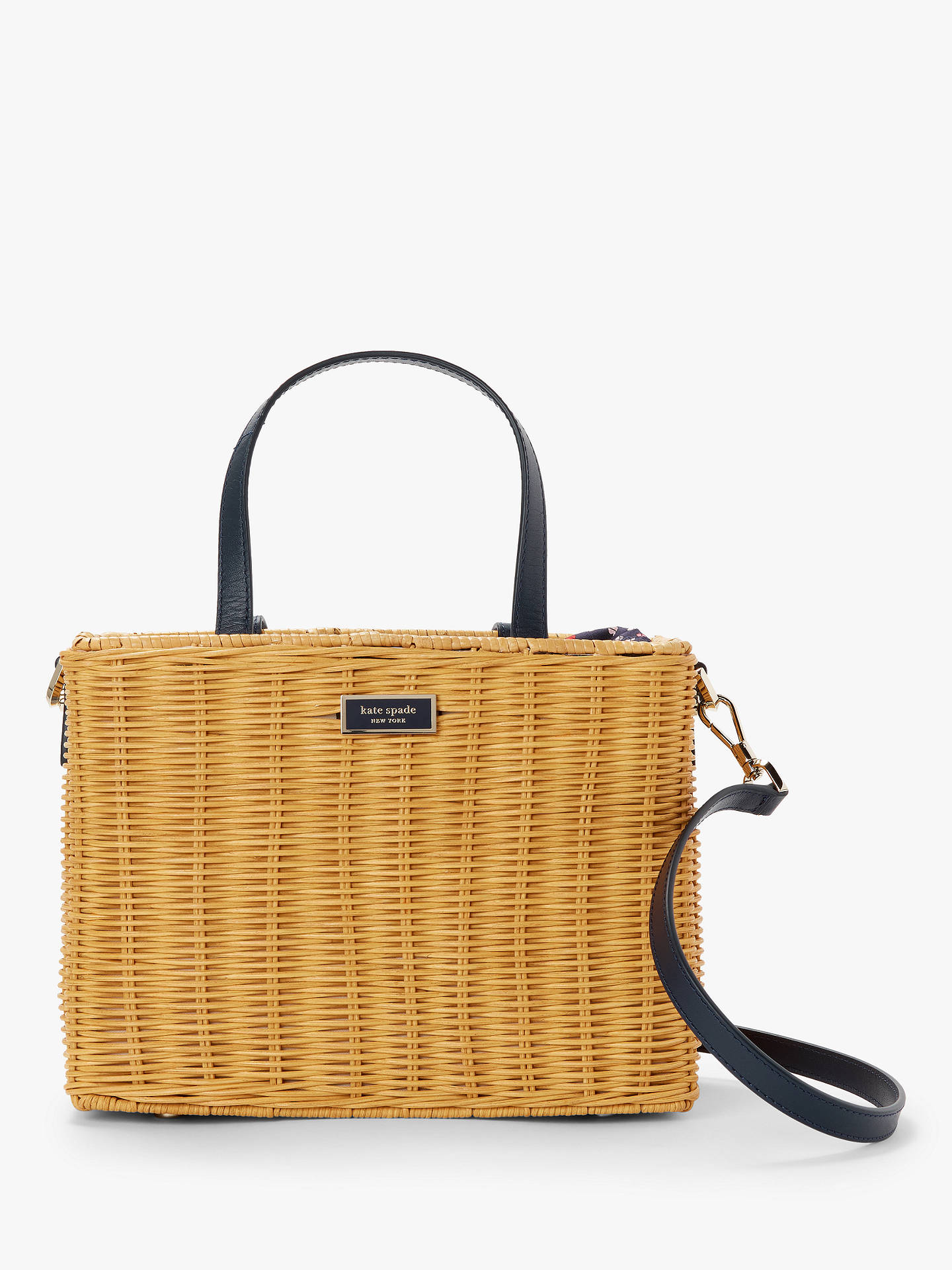 296704c5bab kate spade new york Sam Medium Wicker Basket Bag, Natural/Navy