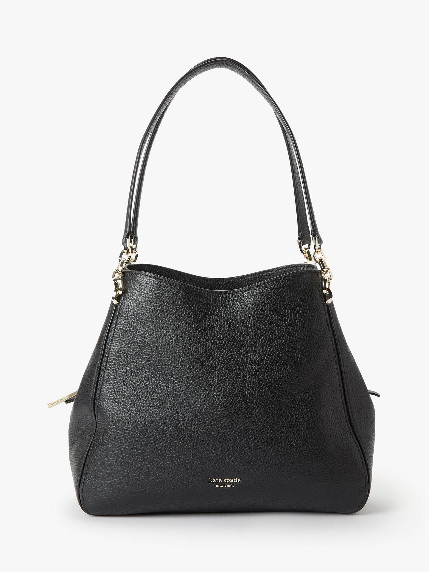 c42335fd56df Buy kate spade new york Hailey Medium Leather Shoulder Bag, Black Online at  johnlewis.