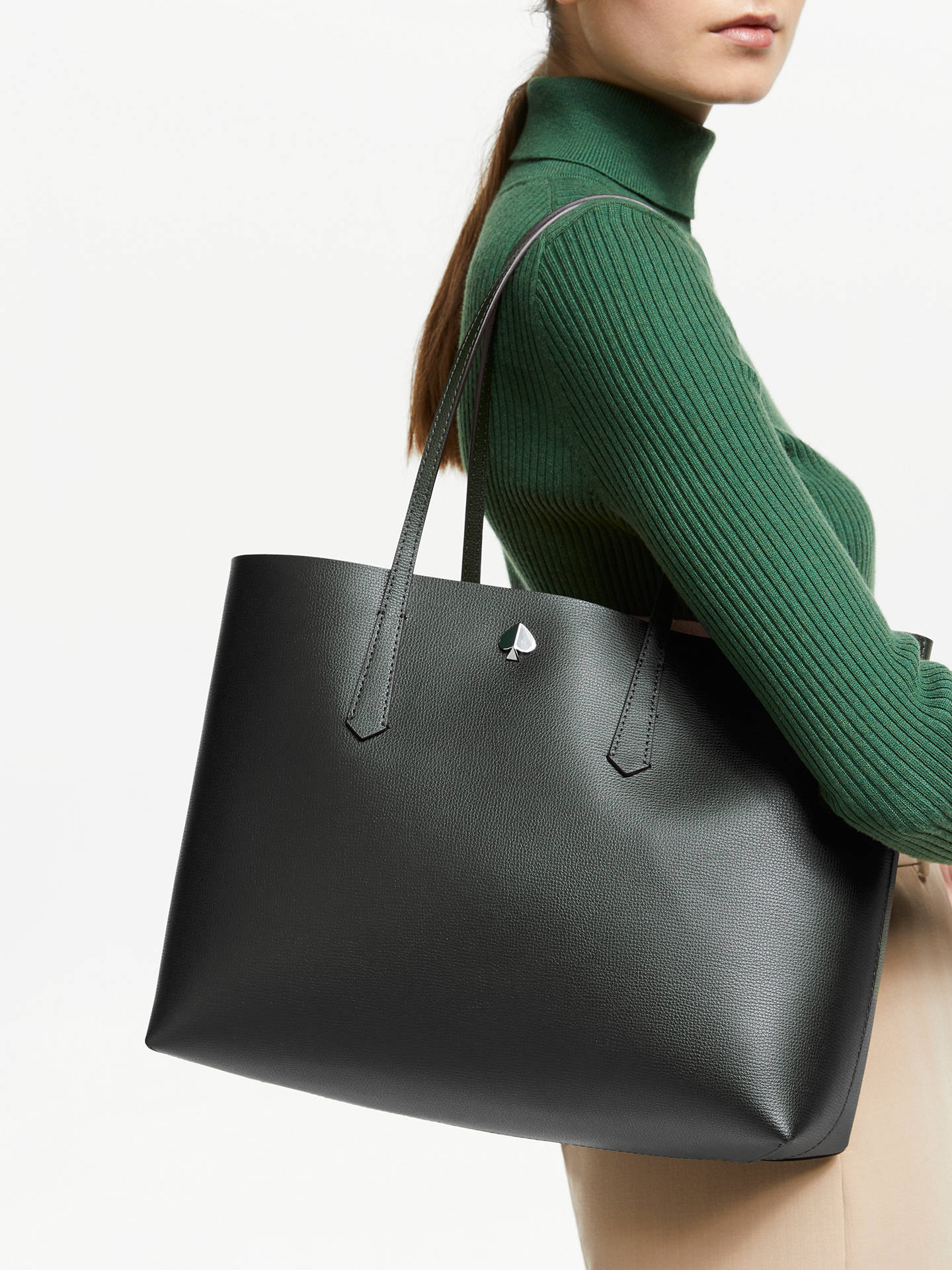 dd88e887225ac ... Buy kate spade new york Molly Leather Large Tote Bag, Deep Evergreen  Online at johnlewis ...