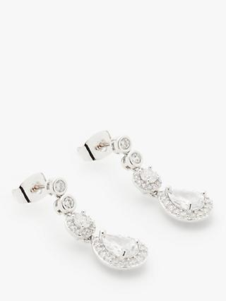 Ivory & Co. Cubic Zirconia Teardrop Drop Earrings, Silver
