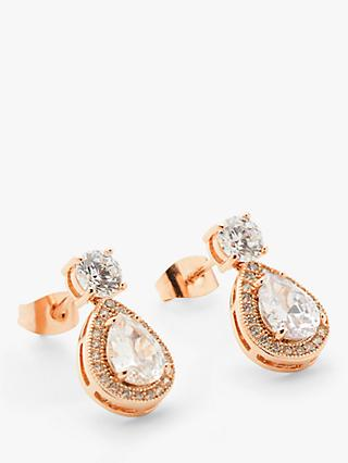 Ivory & Co. Limelight Crystal Teardrop Drop Earrings, Rose Gold