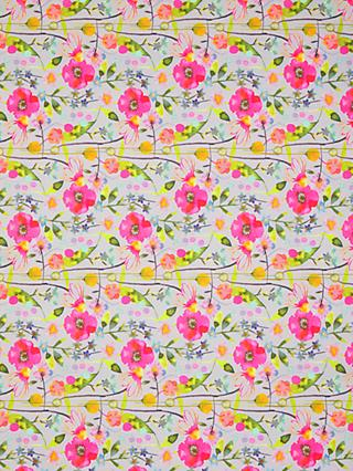 Oddies Textiles Bright Watercolour Flower Print Fabric, Pink/Multi