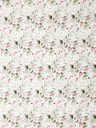 Oddies Textiles Pink Orchids Print Fabric, Green