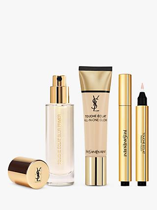 Yves Saint Laurent Touche Éclat Foundation B10 Porcelain, Highlighter 1 and Primer with Gift (Bundle)