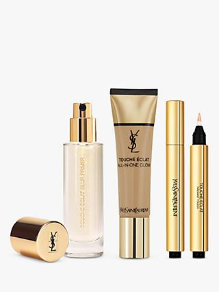 Yves Saint Laurent Touche Éclat Foundation B60 Amber, Highlighter 3 and Primer with Gift (Bundle)