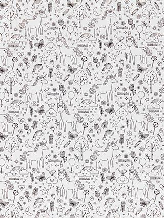 Domotex Unicorn Print Fabric, Grey