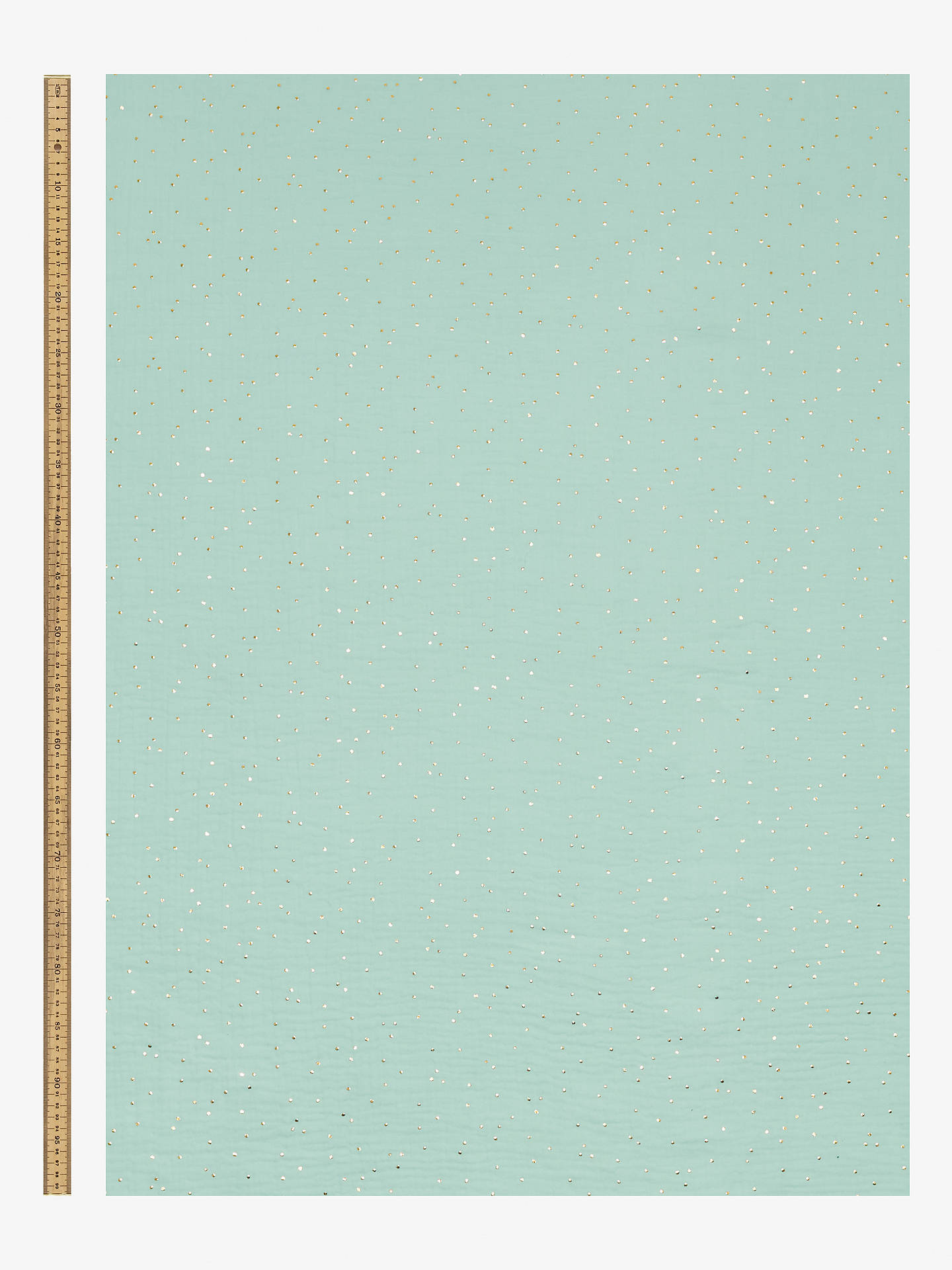 Buy Domotex Muslin With Gold Spots Print Fabric, Green Online at johnlewis.com