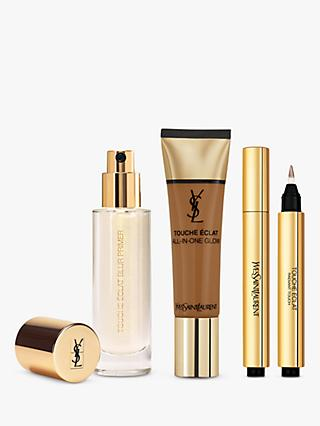 Yves Saint Laurent Touche Éclat Foundation B80 Chocolat, Highlighter 7 and Primer with Gift (Bundle)