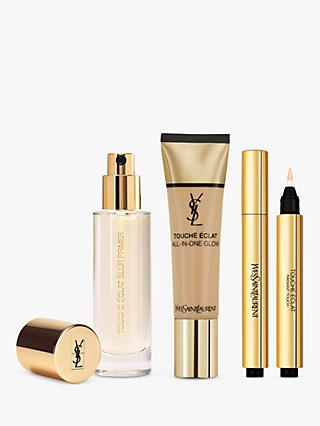 Yves Saint Laurent Touche Éclat Foundation BD50 Warm Honey, Highlighter 3 and Primer with Gift (Bundle)