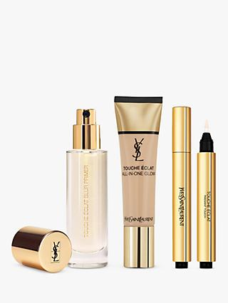 Yves Saint Laurent Touche Éclat Foundation BR30 Cool Almond, Highlighter 2 and Primer with Gift (Bundle)