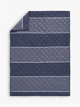 Pottery Barn Kids Easton Sateen Toddler Bed Quilt, Navy