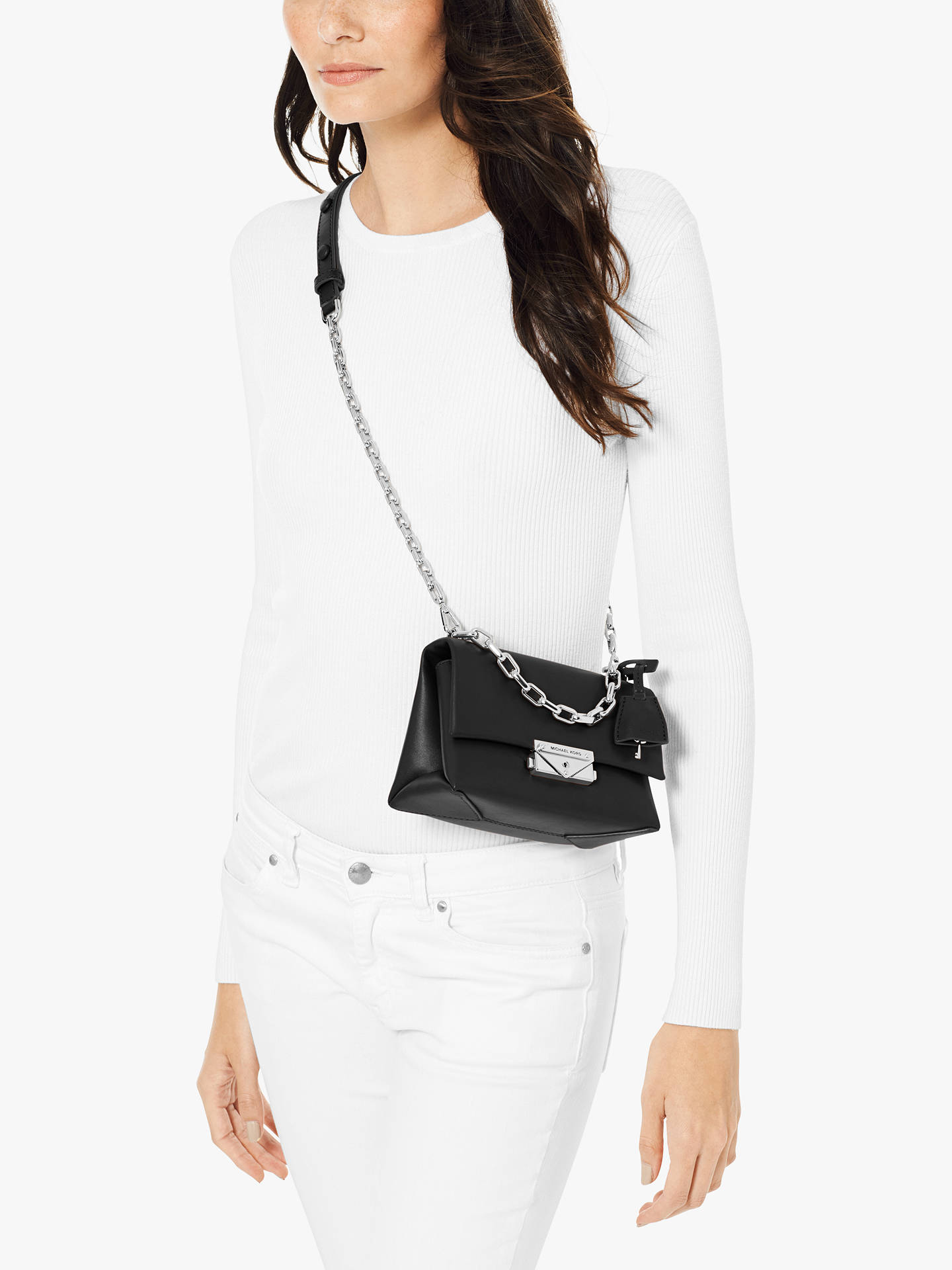 4987b7a7f9024c Buy MICHAEL Michael Kors Cece Small Chain Cross Body Bag, Black Online at  johnlewis.