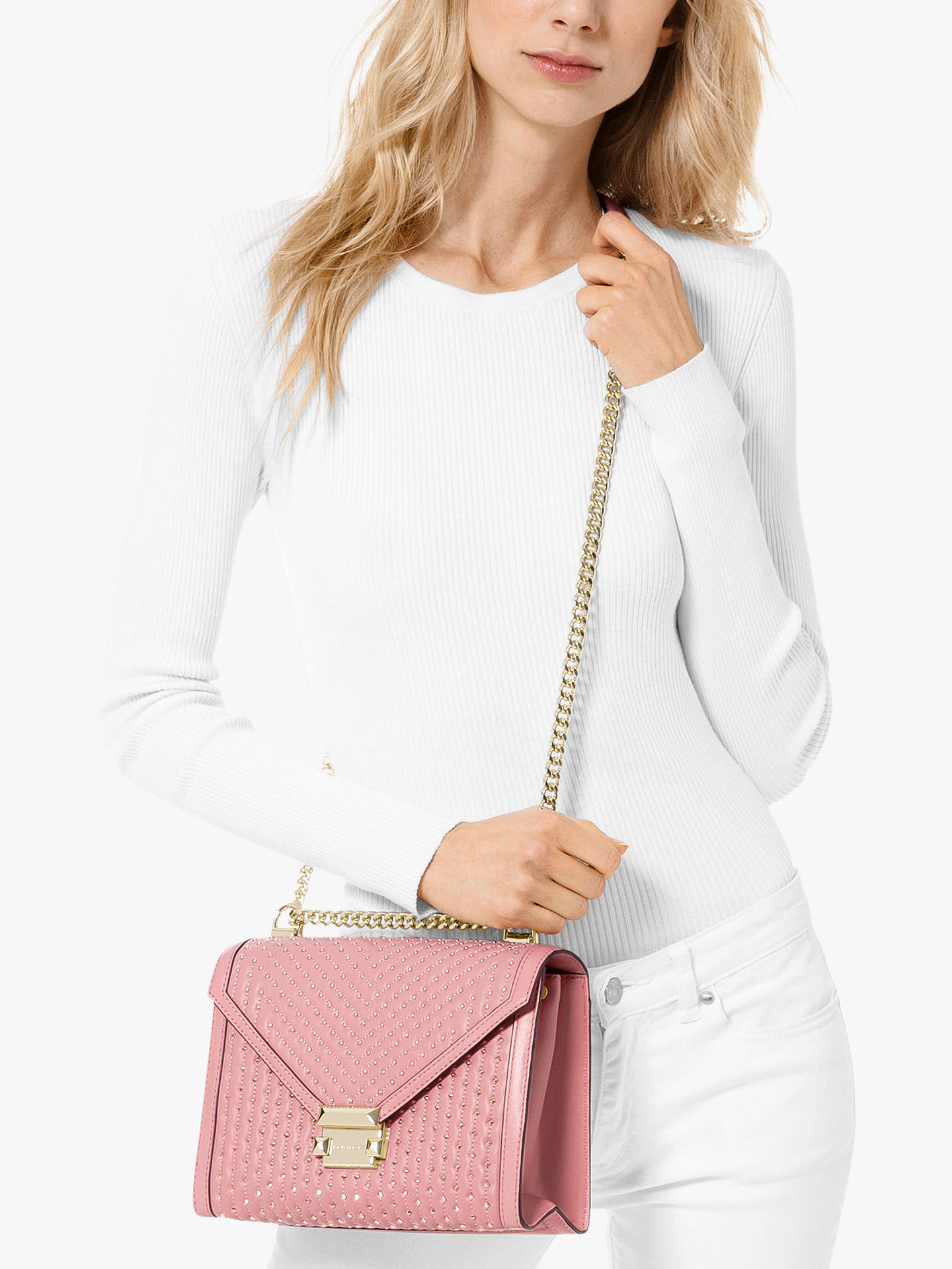 aa567576c58d MICHAEL Michael Kors Whitney Leather Large Embellished Shoulder Bag ...