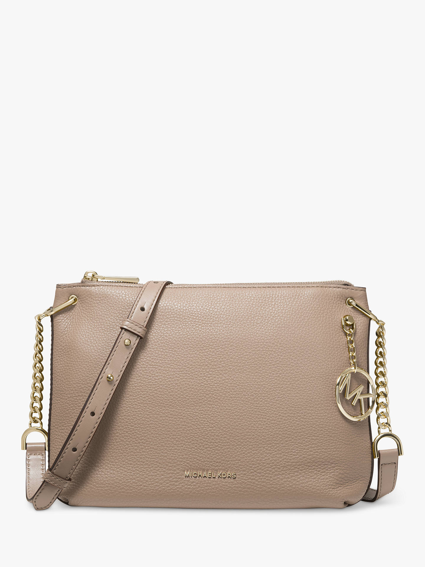 03608fd7211e2e Buy MICHAEL Michael Kors Lillie Large Leather Messenger Bag, Truffle Online  at johnlewis.com ...