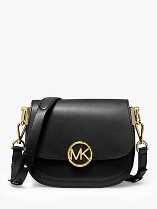 MICHAEL Michael Kors Lillie Small Saddle Leather Messenger Bag, Black