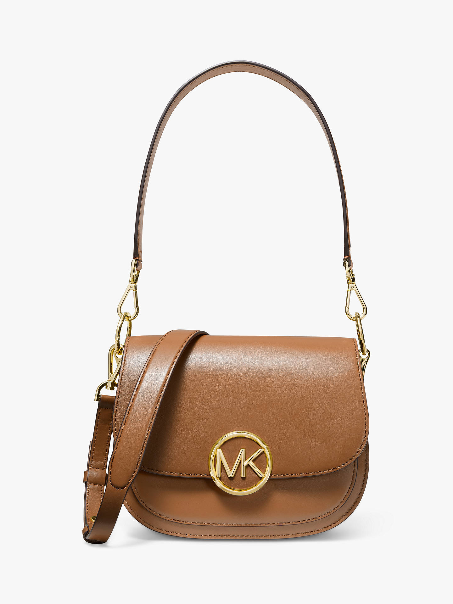e691a161ba683a Buy MICHAEL Michael Kors Lillie Medium Saddle Leather Messenger Bag, Acorn  Online at johnlewis.