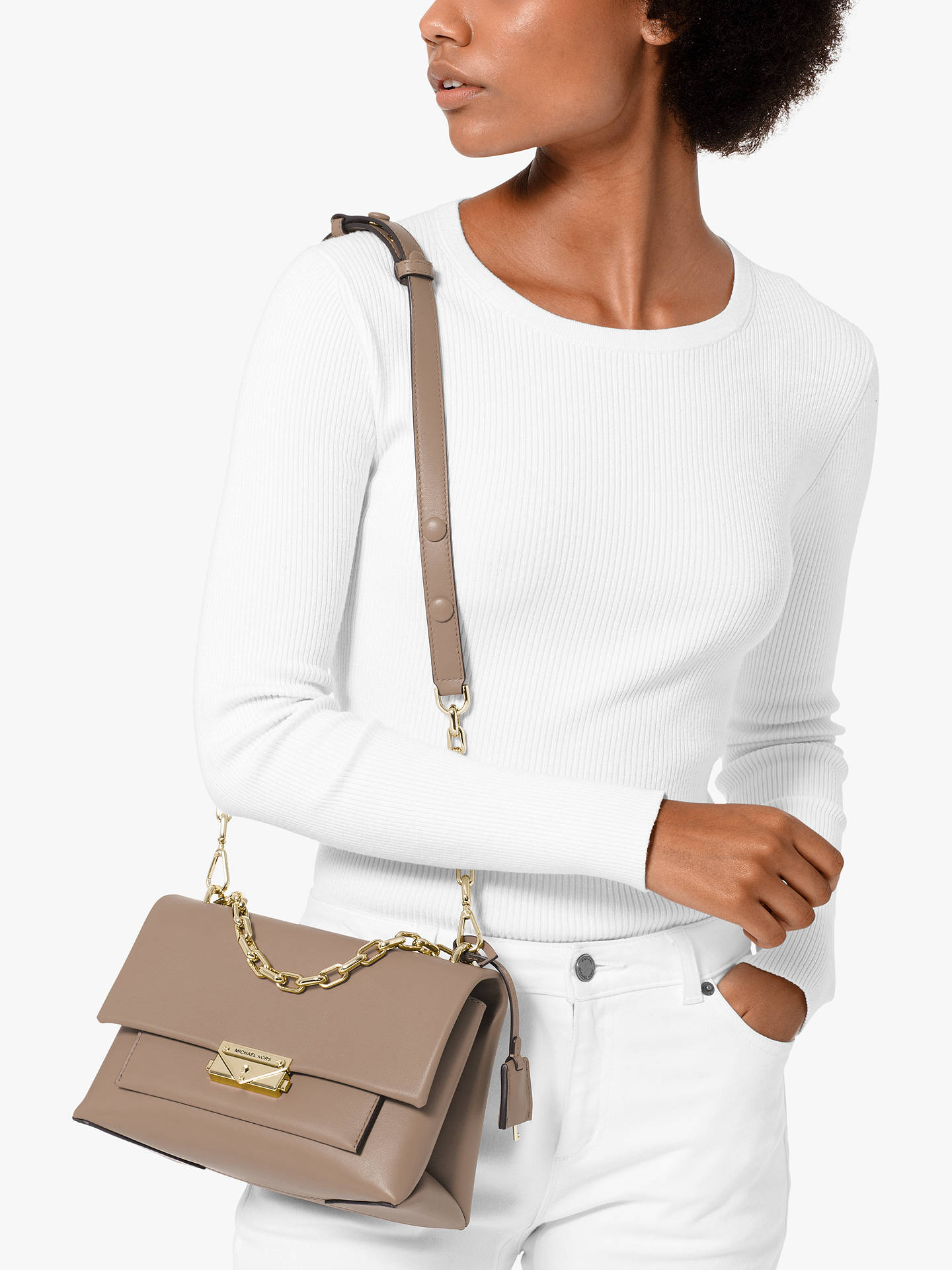 4ce29cd3110e ... Buy MICHAEL Michael Kors Cece Medium Chain Shoulder Bag, Truffle Online  at johnlewis.com