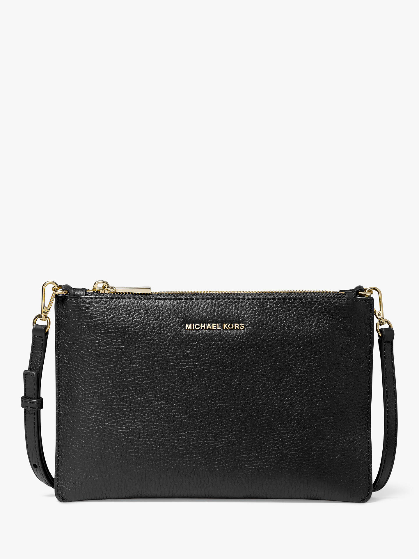 a8f8cd6cb7c49f Buy MICHAEL Michael Kors Crossbodies Leather Large Double Pouch Bag, Black  Online at johnlewis.