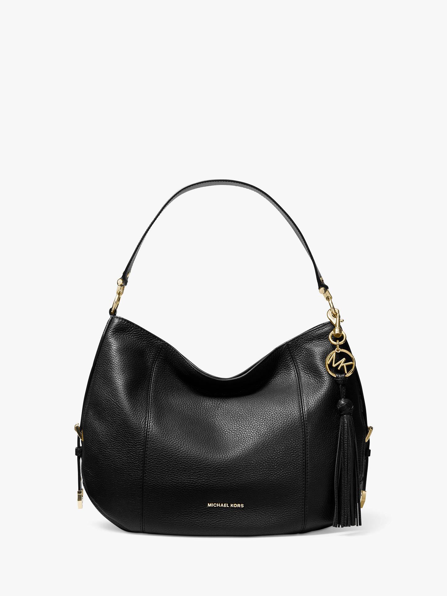8050a3947 Buy MICHAEL Michael Kors Brooke Large Leather Hobo Bag, Black Online at  johnlewis.com ...