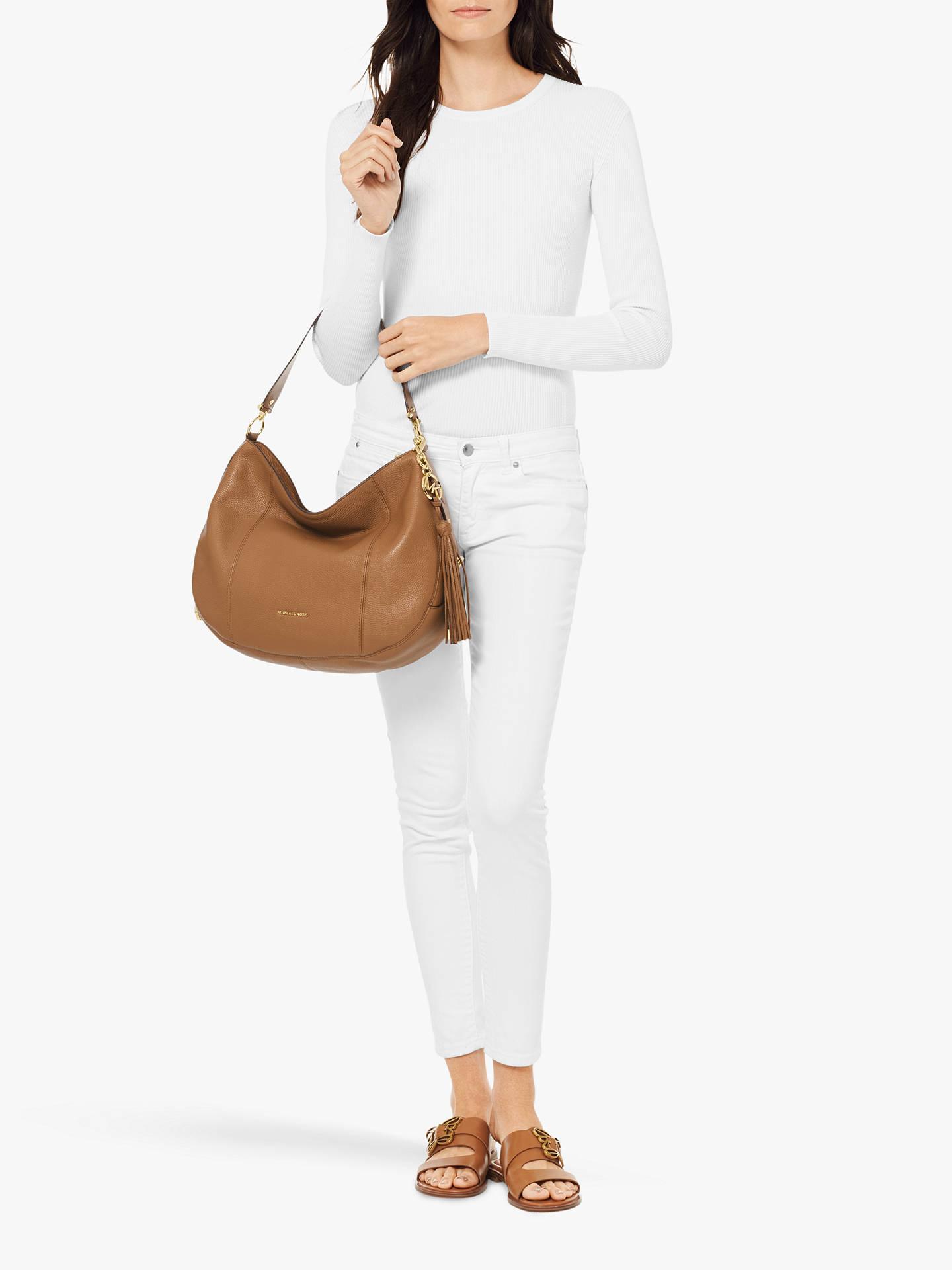 341f89d70f4c ... Buy MICHAEL Michael Kors Brooke Large Leather Hobo Bag, Acorn Online at  johnlewis.com