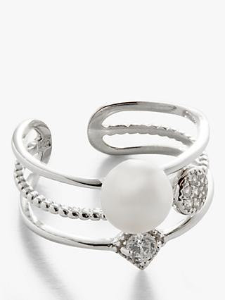 Lido Pearl and Cubic Zirconia Stacked Cocktail Ring, Silver/White